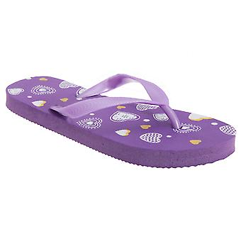 FLOSO Childrens/Kids Girls Heart Flip Flops