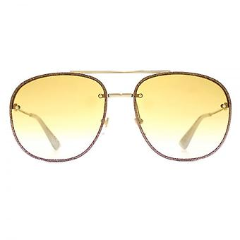 Gucci Glitter Trim Pilot Sunglasses In Gold Yellow Gradient