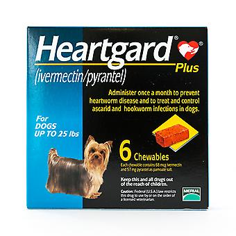 Heartgard Plus (Blue) Chewables for Dogs up to 25lbs(11kg), 6 Pack