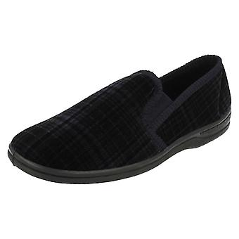 Mens Four Seasons Check Print Slippers Greg