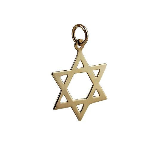9ct Gold 21x17mm plain Star of David Pendant