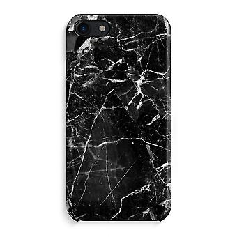 iPhone 8 Full Print saken (glanset) - svart marmor 2