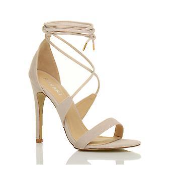 Ajvani womens altas calcanhar mal lá tiras do laço amarrar sapatos sandálias
