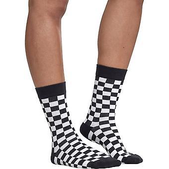Urban classics - CHECKER unisex socks 2 Pack Black