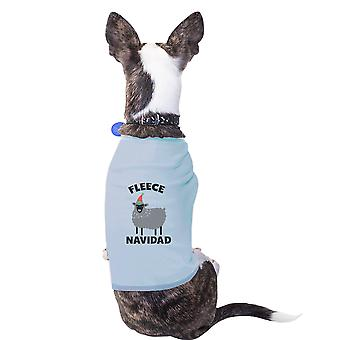 Fleece Navidad bomuld Pet skjorte himmelblå X-Mas hund mor gave små hunde tøj