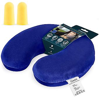 Savisto Memory Foam Travel Pillow - Blue