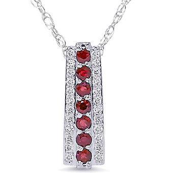 1 1/2ct Ruby & Diamond Pendant 14 Karat White Gold 1