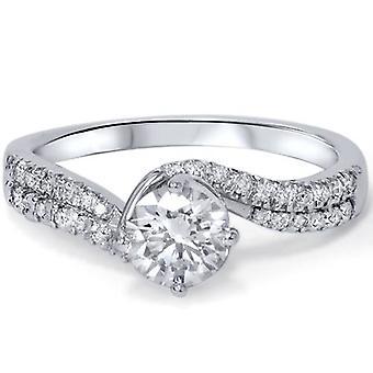 7/8ct Diamond Engagement Ring 14K White Gold