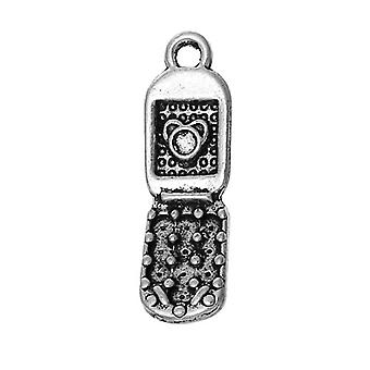 Packet 6 x Antique Silver Tibetan 27mm Mobile Phone Charm/Pendant ZX12970