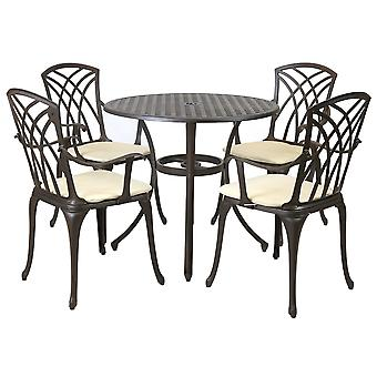 Charles Bentley Metal Cast Aluminium 5 Piece Garden Furniture Patio Set with Cushions - Weatherproof