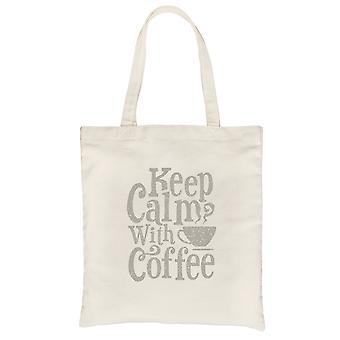 Keep Calm Coffee Natural Canvas Shoulder Bag