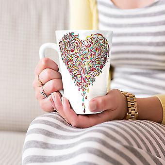 Colorful Heart Valentine NEW White Tea Coffee Ceramic Latte Mug 17 oz | Wellcoda