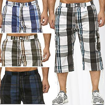 Mens Bermuda Leisure Shorts Summer Chequered Shorts Cargo Capri 3/4 Bags