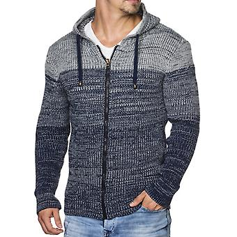Tazzio fashion men's Hooded Cardigan with Royal Blue melange
