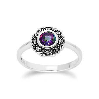 Gemondo Sterling Silver Mystic Topaz & Marcasite Art Noveau Floral Ring
