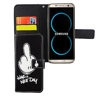 Mobile phone case pouch for mobile Samsung Galaxy S8 have A nice day black