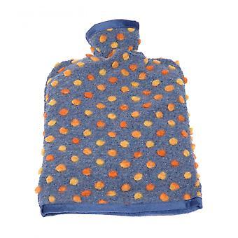 Wärmflaschenbezug Wolle Noppen blau 20/30 cm
