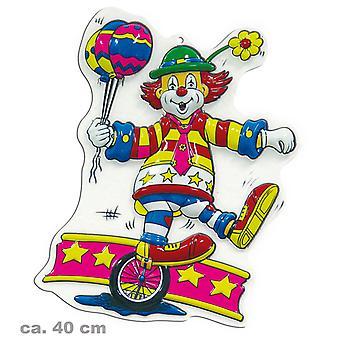 Wand-Deko Clown mit Einrad Party Geburtstag Karneval