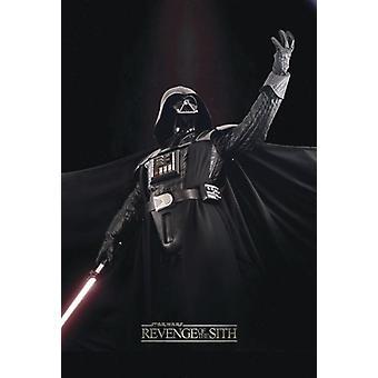 Star Wars Episode III poster wraak van de Sith Darth Vader in winnende pose