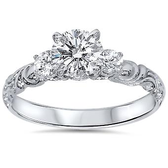 3/4ct Vintage 3 Stone Diamond Engagement Ring 14K White Gold