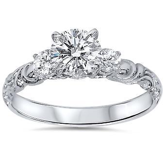 3 / 4ct Vintage 3 kamień diament pierścionek zaręczynowy 14K białe złoto