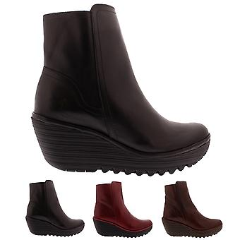 74a93ab51cec3 Womens Fly London Yeti Leather Winter Wedge Casual Fashion Ankle Boots