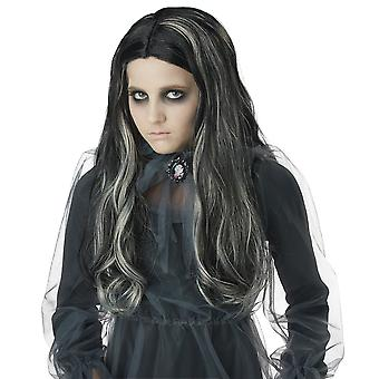 Bloody Mary Ghost Phantom Spirit Long Black Grey Halloween Girls Costume Wig