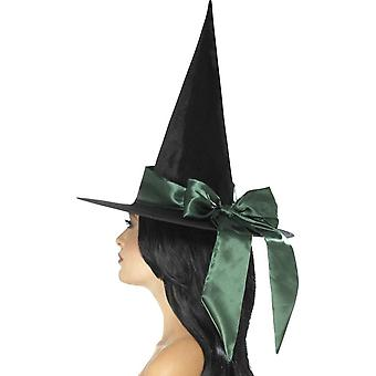 Smiffy's Deluxe Witch Hat, svart, grønn bue