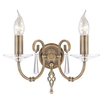 Elstead Lighting Aegean Two Arm Aged Brass Wall Light