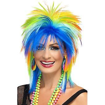 Short Multi-Coloured Spikey Wig, 80's Rainbow Punk Wig, Multi-Coloured