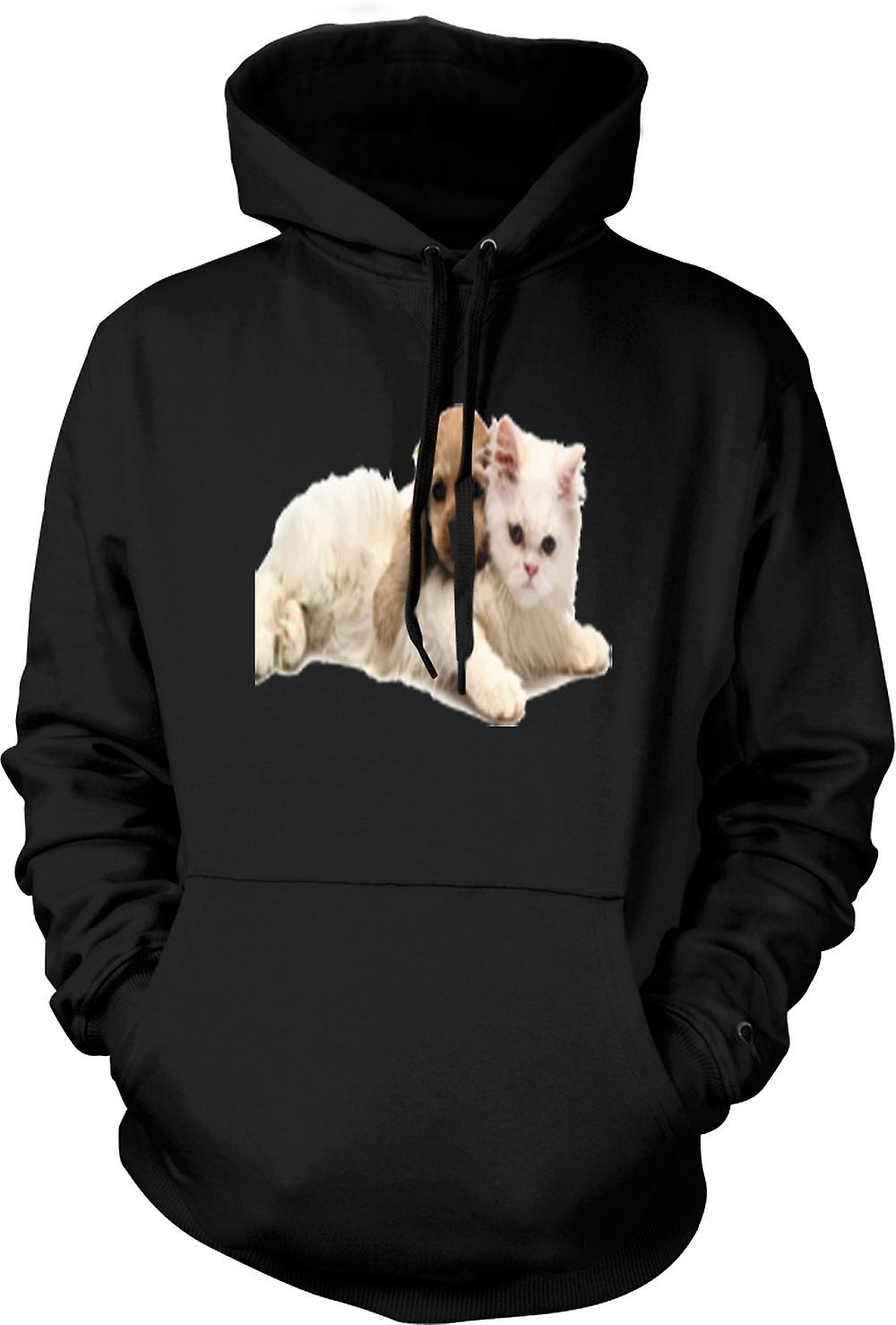 Mens Hoodie - Cute Cat And Dog Portrait