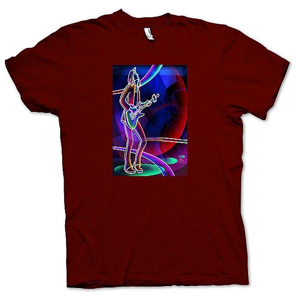 Mens T-shirt-Neon rockgitarist