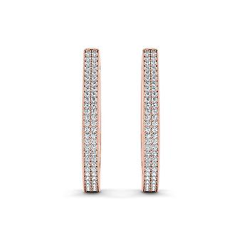 IGI Certified Natural 10k Rose Gold 0.33 Ct Diamond Hoop Earrings Hooks
