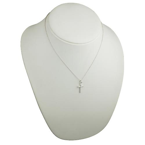 Silver 20x12mm diamond star set solid block Cross with a rolo Chain 18 inches