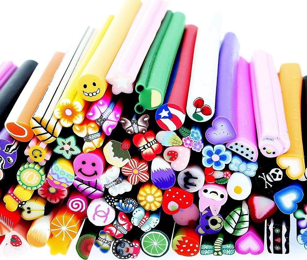 100 pc 3D DIY Nail Art Fimo Canes / Rods Sticker Suggerimenti - Decorazione Colore Argilla