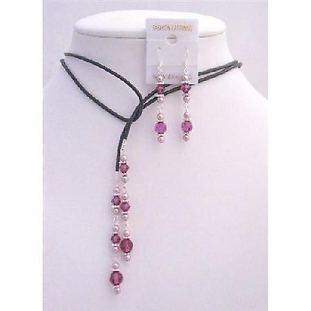 Leather Lariat Powder Rose Pearls Fuchsia Crystals & Sterling Earrings