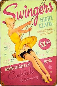 Swingers Night Club rusted metal sign (pst 1812)