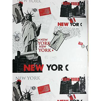 New York Wallpaper Cityscape Postcards Stamps White Black Red Metallic Silver