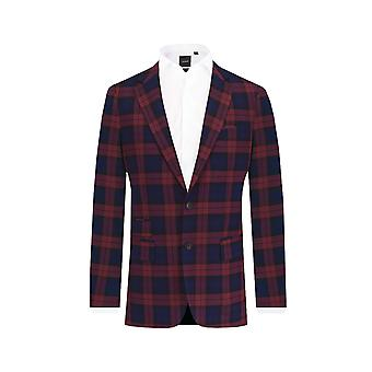 ・ ドベル メンズ ブルゴーニュ タータン スーツ ジャケット合わせてフィット