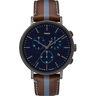 Timex TW2R37700D7 watch - watch Leather Brown Chronograph Man