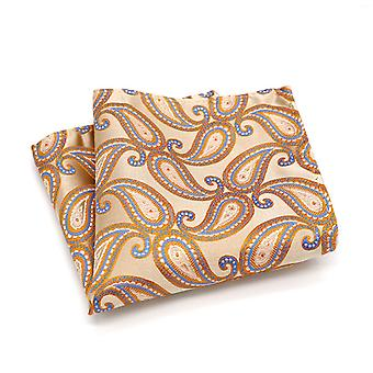 Light peach & orange paisley pattern pocket square