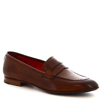 Leonardo Shoes Women's handmade slip-on loafers in brandy calf leather