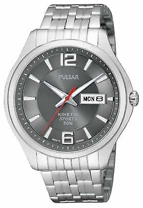 Pulsar Mens Kinetic Sport Stainless Steel Grey Dial PD2035X1 Watch