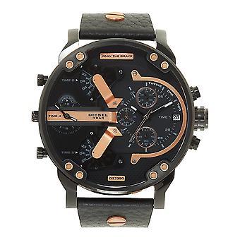 Diesel Dz7350 Mr Daddy 2.0 Black Leather Chronograph Men's Watch