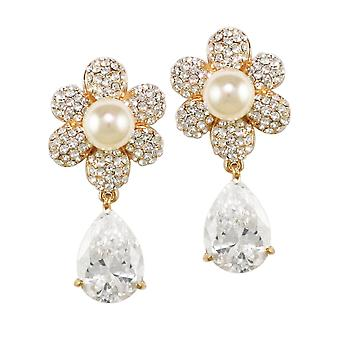 Eternal Collection Candide Cubic Zirconia And Austrian Crystal Gold Tone Drop Pierced Earrings