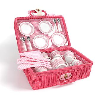 Tidlo Picnic Tea Set with Hamper Pretend Role Play Kitchen Picnic