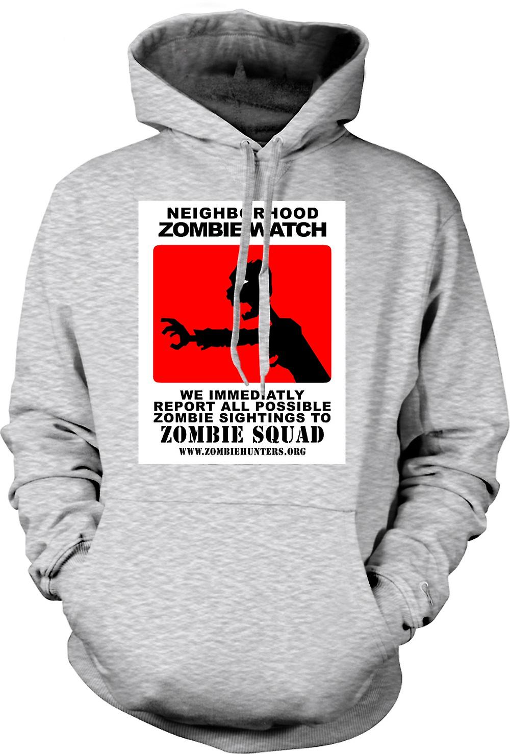 Mens Hoodie - Zombie Neighborhood Watch - Funny