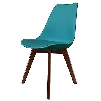 Fusion Living Eiffel Inspired Teal Plastic Dining Chair With Squared Dark Wood Legs