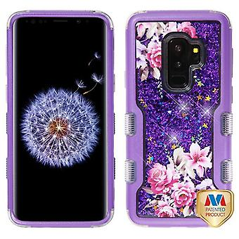 MYBAT Purple/Romantic Love Flowers & Purple Sparkles TUFF Quicksand Glitter Hybrid Case for Galaxy S9 Plus