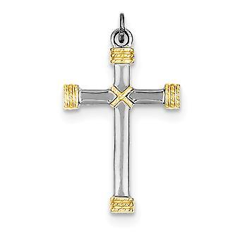 925 Sterling Silber solide flach zurück poliert zurück und 18 k Gold-Flashed Seil Kreuz Anhänger